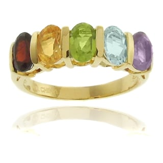 Dolce Giavonna 18k Gold Overlay Multi-gemstone 5-stone Ring with Red Bow Gift Box