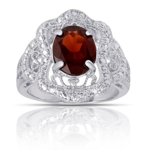 Dolce Giavonna Silverplated Garnet and Diamond Accent Antique-style Ring