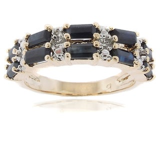 Dolce Giavonna 18k Gold Overlay Sapphire and Diamond Accent 2-row Ring