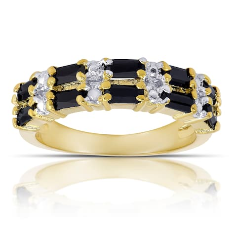 Dolce Giavonna Gold Overlay Sapphire and Diamond Accent 2-row Ring