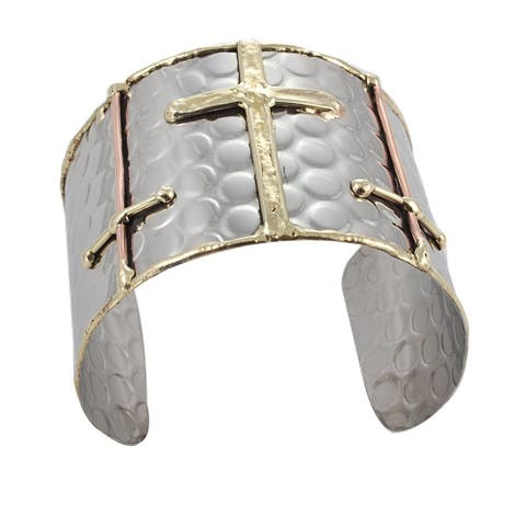 Handmade Hammered Brass Copper Sideways Crosses Cuff Bracelet (India)