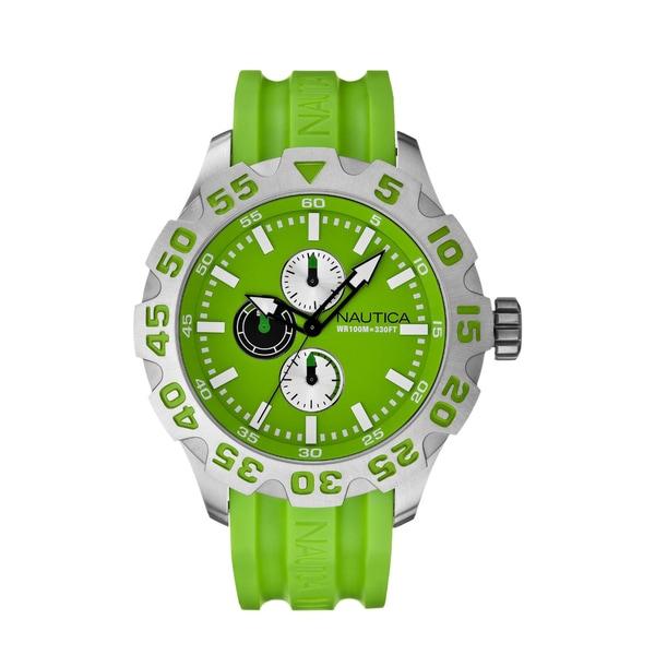Nautica Men's BFD 100 Multi N15580G Green Resin Quartz Green Dial Watch