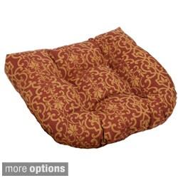 """Blazing Needles 19-inch U-shaped Spun Poly Outdoor Chair/ Rocker Cushion - 19"""" x 19"""""""