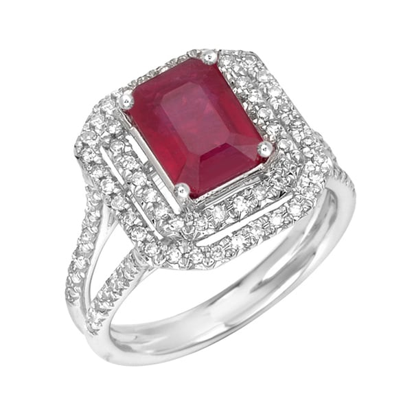 14k Gold Ruby and 3/8ct TDW Diamond Engagement-style Ring (G, SI1)