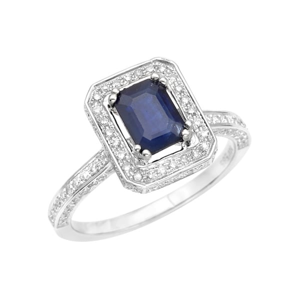 14k Gold Sapphire and 1/3ct TDW Diamond Ring (G, SI1)