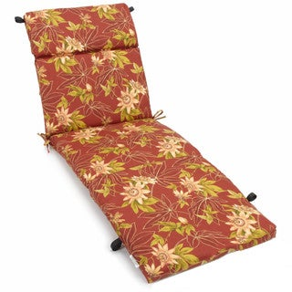 Blazing Needles Tropical/ Stripe 72-inch Spun Poly Outdoor Chaise Lounge Cushion