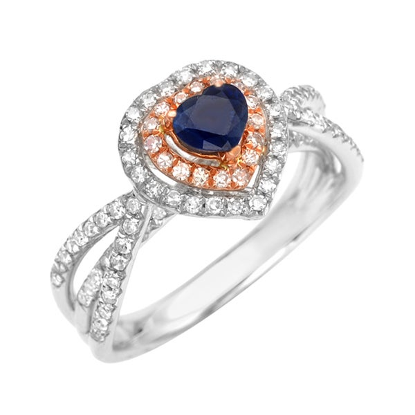 14k Gold Heart-cut Sapphire and 1/2ct TDW Diamond Ring (G, SI1)