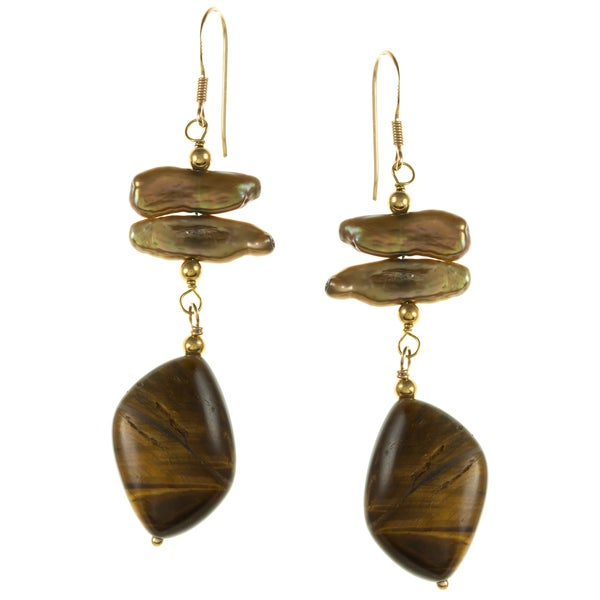 Gold over Silver Tiger Eye Jasper and Brown Pearl Earrings (4-15 mm)