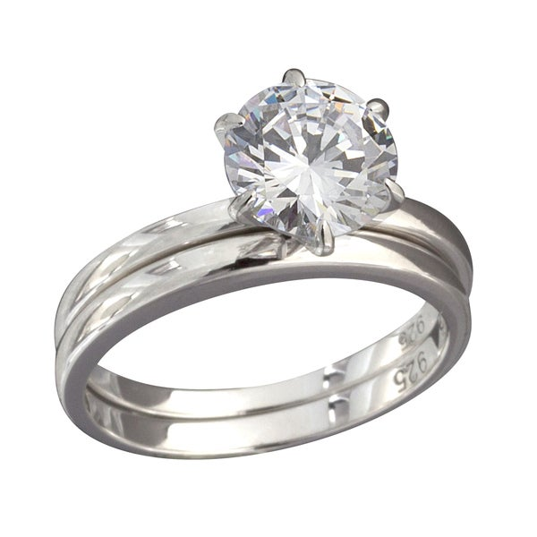 NEXTE Jewelry Sterling Silver Round Cubic Zirconia Bridal-style Ring Set