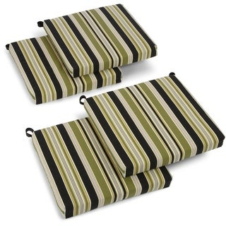 Blazing Needles Floral/ Stripe 19-inch Square Spun Poly Outdoor Cushions (Set of 4)