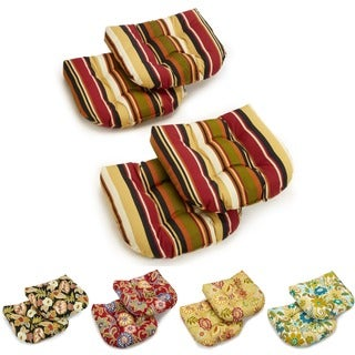 """Blazing Needles 19-inch Spun Polyester Patterned Chair/ Rocker Outdoor Cushions (Set of 4) - 19"""" x 19"""""""