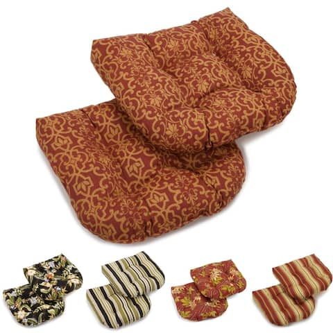 "Blazing Needles 19-inch U-shape Indoor/Outdoor Chair Cushions (Set of 2) - 19"" x 19"""