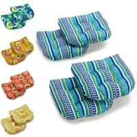"Blazing Needles 19-inch U-shape Spun Poly Chair/Rocker Outdoor Cushions (Set of 4) - 19"" x 19"""