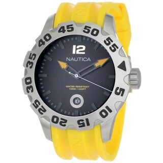 Nautica Men's BFD 100 Black Dial and Yellow Resin Strap Quartz Watch