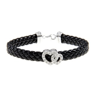 Silver and Black Leather 1/4ct TDW Diamond Heart Bracelet (J-K, I3)