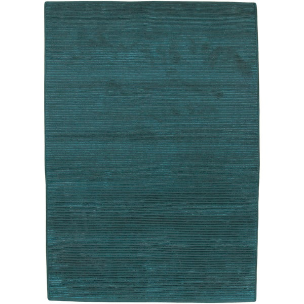 Shop Hand-knotted Teal Green Wool Area Rug