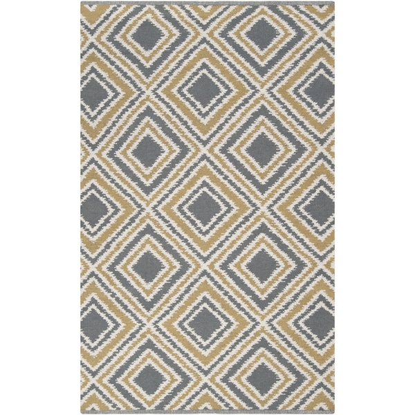 Hand-woven Golden Yellow Wool Area Rug - 8' X 11'