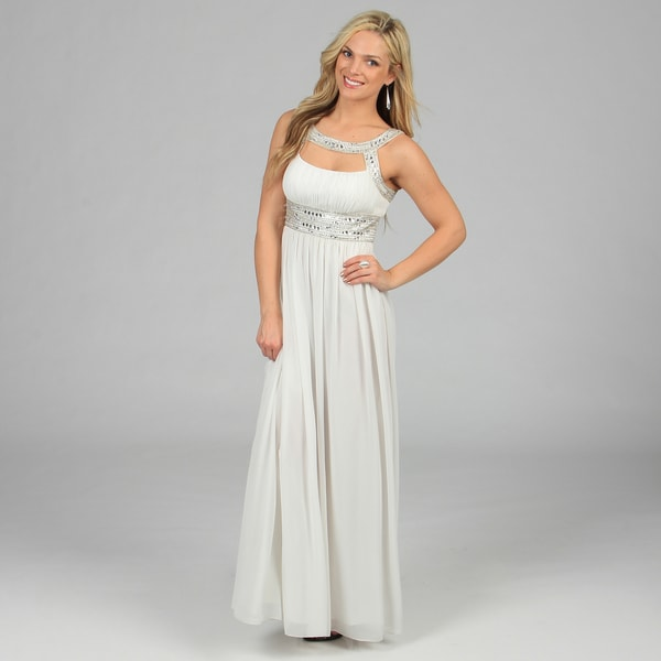 Decode 1.8 Women's Ivory Beaded Neck and Waist Long Gown
