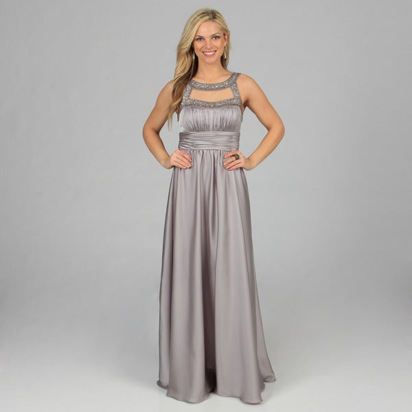 Decode 1.8 Women's Silver Long Bead-embellished Keyhole Gown