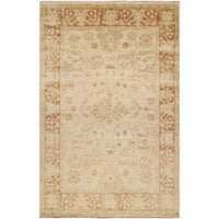 Hand-knotted Royalton Beige Wool Area Rug - 5'6 x 8'6