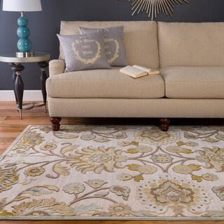 Hand-woven Garden Gold Off White Area Rug (4' x 5'7)