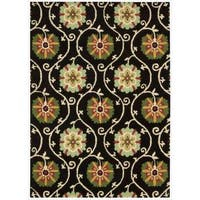 Hand-tufted Suzani Black Floral Medallion Rug - 5'3 x 7'5