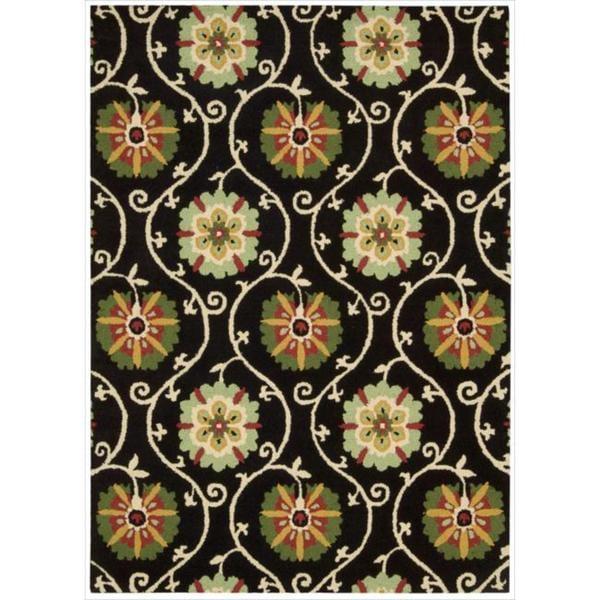 Hand-tufted Suzani Black Floral Medallion Rug (5'3 x 7'5)