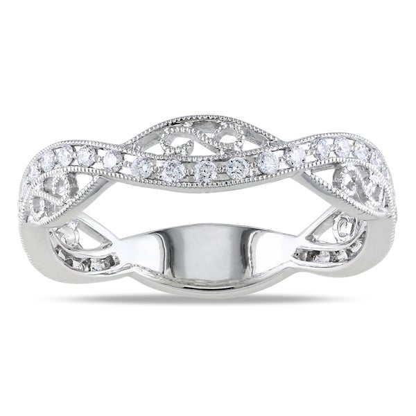 14k White Gold 1/3ct TDW Diamond Band Ring