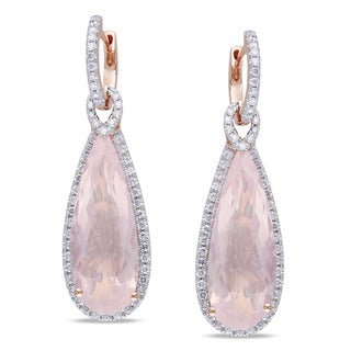 Miadora Signature Collection 14k Rose Gold Rose Quartz and 1ct TDW Diamond Earrings (G-H, SI1)
