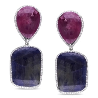 Miadora Signature Collection Sterling Silver Multi-colored Sapphire Dangle Earrings