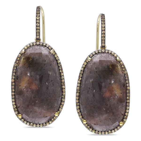 Miadora Yellow-plated Silver Sapphire Dangle Earrings