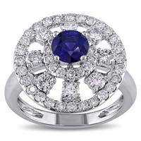 Miadora Signature Collection 18k Gold Sapphire and 1 1/3ct TDW Diamond Ring (G-H, SI1-SI2)