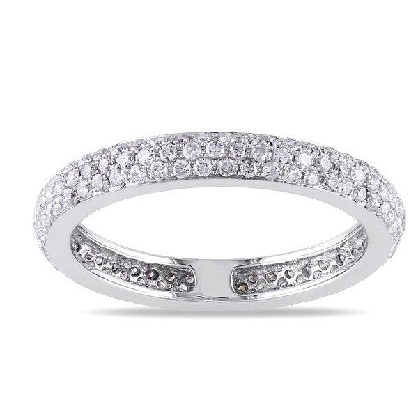 Miadora 14k White Gold 7/8ct TDW Diamond Eternity Ring