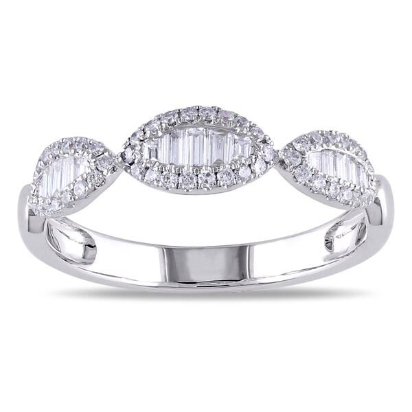 Miadora 18k White Gold 2/5ct TDW Baguette Diamond Ring (G-H, SI1-SI2)