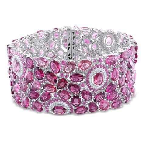 Miadora Signature Collection 14k Gold Multi-gemstone and 1ct TDW Diamond Bracelet (G-H, SI1-SI2)
