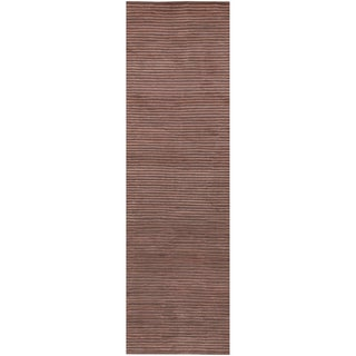 """Hand-knotted Coffee Medium Brown Semi-Worsted New Zealand Wool Rug (2'6"""" x 10')"""