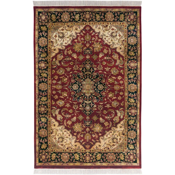 Hand-knotted Exotic Border Maroon Semi-Worsted New Zealand Wool Area Rug - 7'9 x 9'9