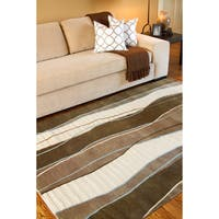 Hand-knotted Wavy Stripe Brown Dark Brown Semi-Worsted New Zealand Wool Area Rug - 8' X 11'