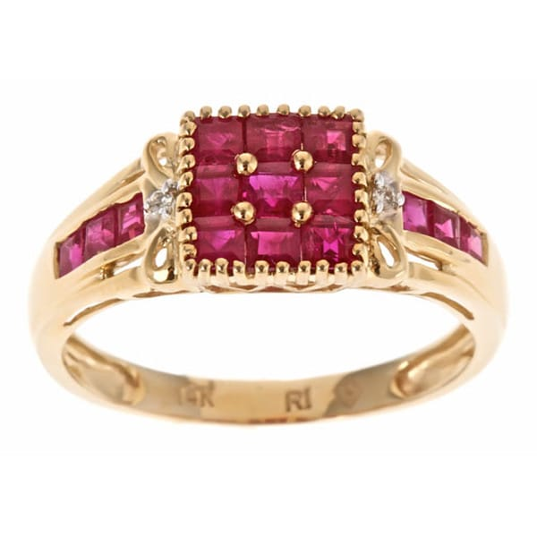 D'yach 14k Yellow Thai Ruby and Diamond Accent Ring