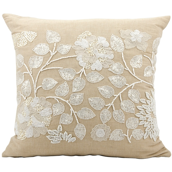 Mina Victory Luminescence  Beige Throw Pillow (20-inch x 20-inch) by Nourison