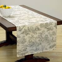 Corona Decor Extra Wide Italian Woven 95 x 26-inch Grey Print Table Runner