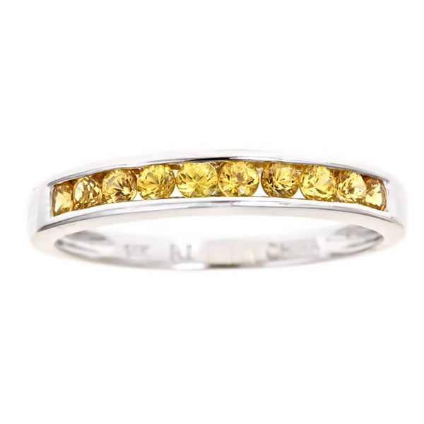 Anika and August 14k White Gold Yellow Sapphire Band