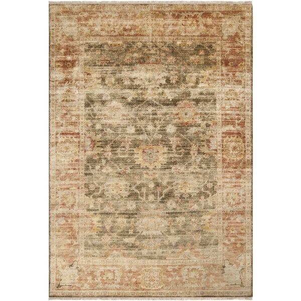 Hand-knotted Antique Red Beige New Zealand Wool Area Rug - 9' x 13'
