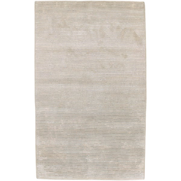 Hand-knotted Mushroom Tone Papyrus Semi-Worsted New Zealand Wool Area Rug - 8' x 11'