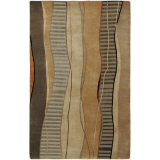 Hand-knotted Wavy Stripe Khaki Green Semi-Worsted New Zealand Wool Area Rug - 8' x 11'/Surplus