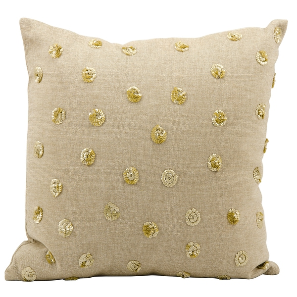 Mina Victory Luminescence Sunny Days Beige Throw Pillow (16-inch x 16-inch) by Nourison