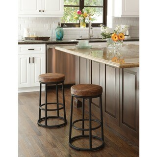 Willow Reclaimed Wood and Iron 24-inch Backless Counter Stool by Kosas Home