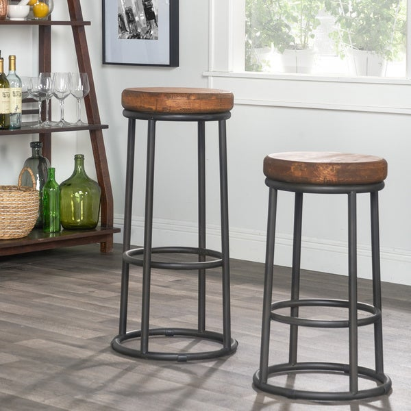 willow reclaimed wood iron backless counter stool home 24 black metal swivel stools set of 3 cherry inch