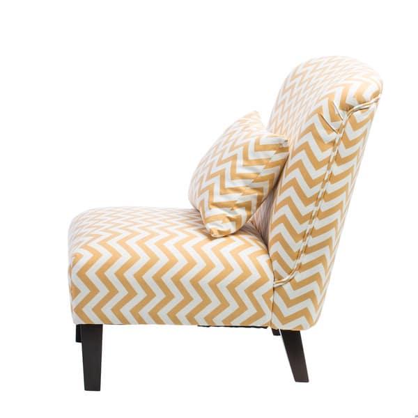 Wondrous Shop Anna French Yellow Chevron Fabric Accent Chair Free Machost Co Dining Chair Design Ideas Machostcouk