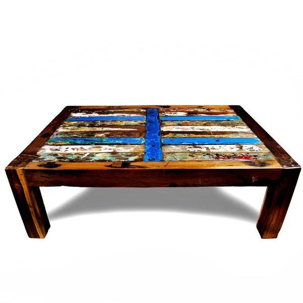 Shop Ecologica Reclaimed Wood Blue Stripe Coffee Table